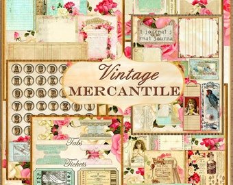 VINTAGE MERCANTILE Mini Book / Journal Kit with 16 Pages, 30 Embellishments, Full Bottle Cap Alphabet Digital Instant Download Printable