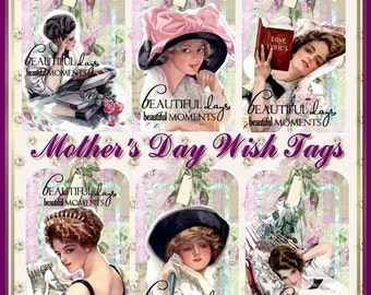 Altered Art Vintage Mothers Day Wish Tags INSTANT DOWNLOAD  Digital Printables