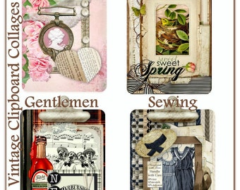 Vintage Clipboard Collage Tags - Cameo, Gentlemen, Spring, and Sewing Themes - Digital Printable - INSTANT DOWNLOAD