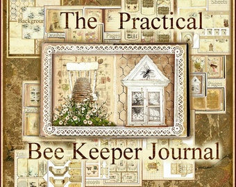 The Practical Bee Keeper Junk Journal Kit - Digital Printable - 5 Backgrounds, 15 Double Pages, 44 Embellishments - INSTANT PRINTABLE