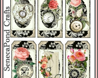 Antique Timepieces Tag Set Cottage Shabby Chic Vintage Victorian Clocks and Roses - Digital Printable - INSTANT DOWNLOAD