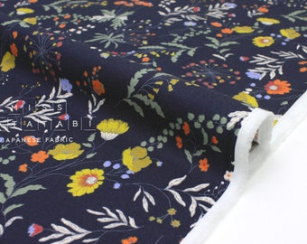 dabd12804d57 Japanese Fabric Curbside Flowers Brushed Twill - navy blue - 50cm