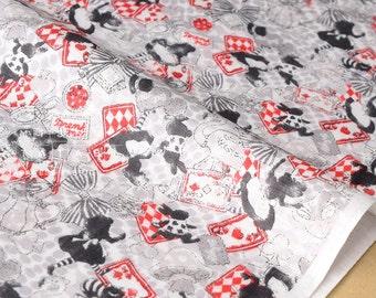 Double gaze tissu japonais Kokka Trefle Alice - noir, rouge, gris - 50cm