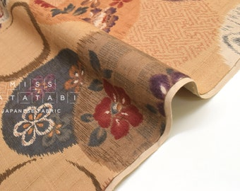 Japanese Fabric Ikat style floral print - A - 50cm