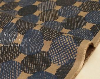 Japanese Fabric Kokka Screen Dots - blue, coffee - 50cm
