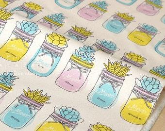 Japanese Fabric Mason Jar Terrarium - cream - 50cm