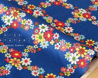 Japanese Fabric Atsuko Matsuyama Fancy Cross - blue - 50cm