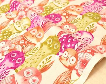 Cotton + Steel Firelight - wise owls - fuchsia - fat quarter