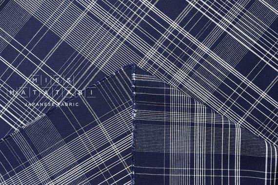 Japanese Fabric Yarn Dyed Indigo Plaid   Blue   50cm by Etsy