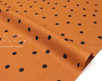 Japanese Fabric Polka Dots- cotton lawn - terracotta, black - 50cm