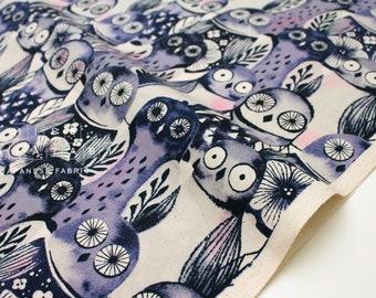 Cotton + Steel Eclipse - wise owls - night - fat quarter