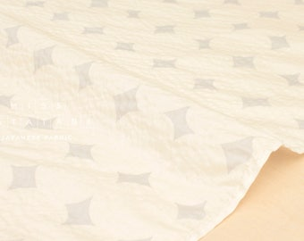 Japonais tissu Seersucker diamant pois - crème - 50cm