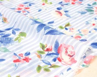 En voile de mousseline de soie tissu japonais Français Rose - bleu clair, rose - 50cm