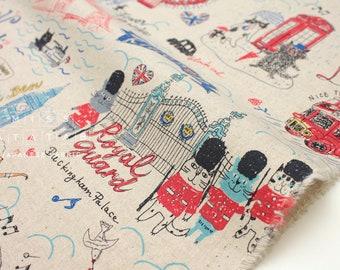 Japonais tissu tissu Kei Miyako Londres chats - naturel, rouge, bleu - 50 cm