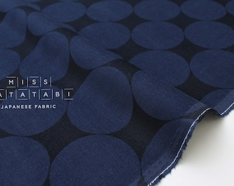 Japanese Fabric Corduroy Big Polka Dots - navy blue - 50cm