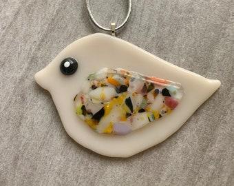 Fused Glass Bird Ornament - Cream with multicolor wing