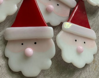 Handcrafted Fused Glass Santa Claus Pin