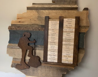 Adirondack 46 wooden hikers tracking plaque - reclaimed wood, hiker climbing up mountainside- rocks pile