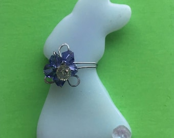 Fused Glass Bunny Brooch~ Pin with Swarovski crystal flower