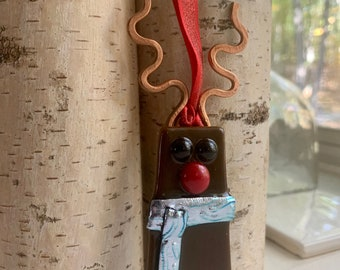 Fused Glass Reindeer Ornament with Hammered Copper Sculpted Wire Antlers & Dichroic Glass Scarf