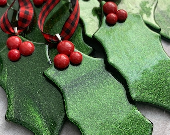 Fused Glass Holly Leaf Ornament