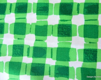 """One Half Yard Cut Quilt Fabric, Fun Green and White Plaid, """"Mad for Melon"""" by Maria Kalinowski for Kanvas, Sewing-Craft-Quilting Supplies"""