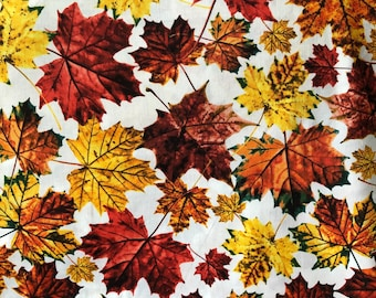 One Fat Quarter Cut of Quilt Fabric, Yellow to Rust Color Fall Leaves on White by Timeless Treasures, Sewing, Quilting, Crafting Supplies