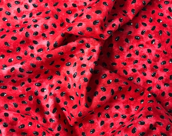 One Fat Quarter Cut of Quilting Fabric, Pink Watermelon and Black Seeds, Sewing-Quilting-Crafting Supplies