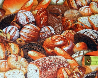 One Fat Quarter Cut Quilt Fabric, Breads, Rolls, Biscuits & Baskets, Elizabeth's Studio, Sewing-Quilting-Craft Supplies