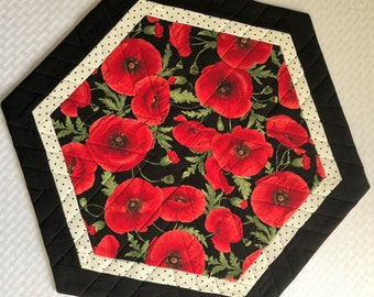 CandleMat, Table Topper, Table Quilt, Centerpiece, Hexagon, Red Poppies, Buds, Green Leaves, Solid Black Border, Handmade Table Linens
