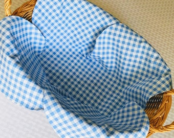 Basket Liner, Bread Cloth, Table Topper, Light Blue and White Printed Gingham, Handmade Table Linens