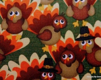 Fabric, Thanksgiving, Cute Turkeys, bolt end SALE