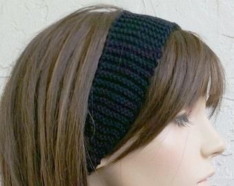 hand knit black Headband Headwrap women womens headband hair accessories MADE TO ORDER ~ Angela headwrap ~ black