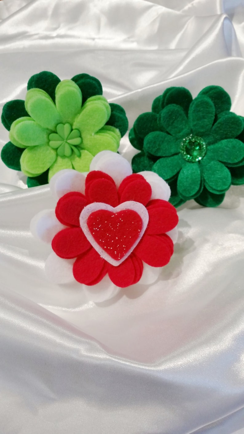 photo prop saint Patrick/'s Day st patty/'s day accessories ~ Boxer Friends Rescue felt flowers ~ Felt dog collar flower made to order