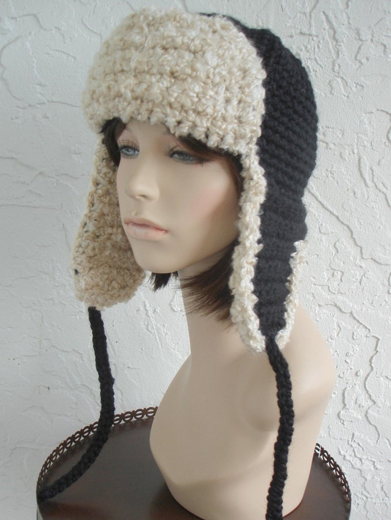6b88b5e4d2c Hand crochet russian trapper bomber aviator pilot Hat fur hat