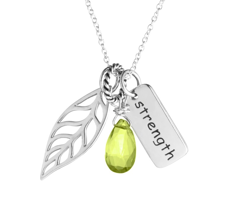 Strength Charm Necklace Leaf Pick Your Gemstone Sterling Etsy
