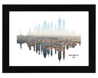 New York Skyline Print with aerial NYC photo