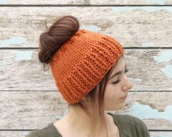 Messy Bun, Adult Pumpkin Hat, Messy Bun Hat, Chunky Messy Bun Hat, Messy Bun Beanie, Ponytail Hat, Ponytail Beanie, Knit Ponytail Hat