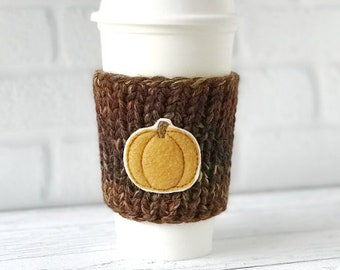 Pumpkin Coffee Cozy, Knit Coffee Cozy, Chunky Coffee Cozy, Pumpkin Applique Coffee Cozy, Pumpkin Coffee Cup Cozy, Chunky Knit Cup Cozy