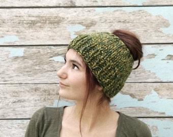 Messy Bun Beanie, Messy Bun Hat, Camo Hat, Camouflage, Chunky Messy Bun Hat, Ponytail Hat, Ponytail Beanie, Knit Ponytail Hat, Chunky Beanie