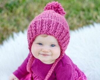 Knit Baby Bonnet, Baby Easter Bonnet, Child Easter Bonnet, Child Pom Pom Hat, Knit Pom Beanie, Chunky Baby Hat, Chunky Child Hat, Thick Knit
