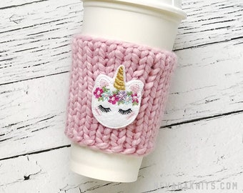 Unicorn Coffee Cozy, Chunky Coffee Cozy, Knit Coffee Cozy, Birthday Gifts for Friend, Unicorn Cozy, Unicorn Gift, Chunky Knit Cup Cozy