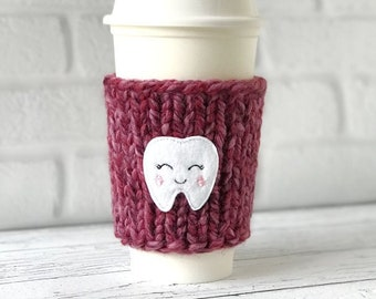 Tooth Coffee Cozy, Chunky Coffee Cozy, Knit Coffee Cozy, Hygienist Gift, Dentist Gift, Tooth Applique Coffee Cozy, Tooth Coffee Sleeve