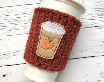 Pumpkin Spice Cozy, Chunky Coffee Cozy, Knit Coffee Cozy, Applique Coffee Cozy, Chunky Knit Cup Cozy, Chunky Knits, Reuseable Cup Cozy,