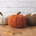 Fall Pumpkin Decor, Knit Pumpkins, Decorative Pumpkins, Pumpkin Trio, Thanksgiving Decor, Thanksgiving Table Decor
