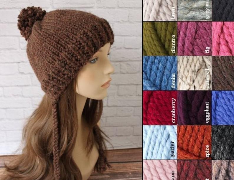 6cd17454aa5 Adult Knit Pom Pom Beanie with Tassels Knit Chunky Hat Knit
