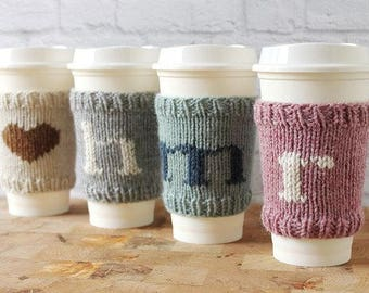 Coffee Cozy, Knit Coffee Sleeve, Mother's Day Gift, Cup Sleeve, Cup Cozy, Teacher Gift, Coffee Gift, Personalized Gifts, Stocking Stuffer