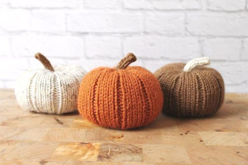 Fall Decor Pumpkins  Knit Pumpkins Autumn Centerpieces image 0
