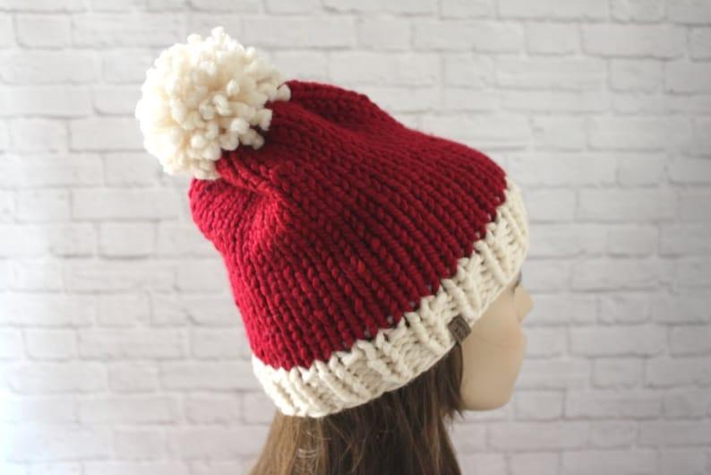 fd5fd255efd Knit Santa Hat Santa Claus Hat Christmas Hat Womens Santa