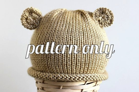 Roll Brim Teddy Bear Hat Knitting Pattern Baby Photo Hat Etsy